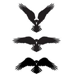Dark evil heraldic raven with spread wings vector