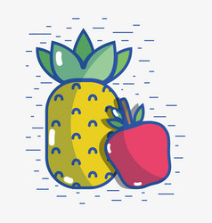 Delicious apple with pineapple fruit to healthy vector