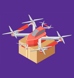 delivery parcel box drone fulfilling order vector image