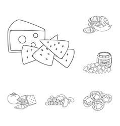 Design of taste and crunchy logo set of vector
