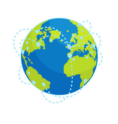 Earth global connections flat concept vector