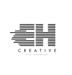 eh e h zebra letter logo design with black and vector image