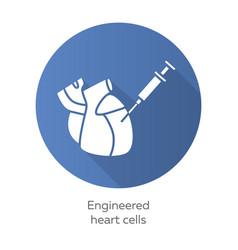 Engineered heart cells blue flat design long vector
