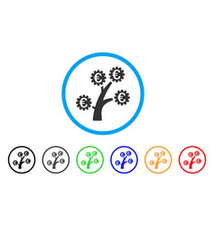 Euro technology tree rounded icon vector
