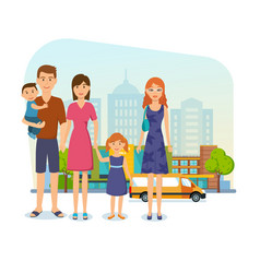 family for shopping at mall got out of store vector image