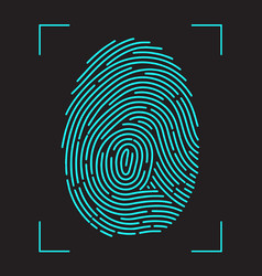 finger-print scanning identification system vector image