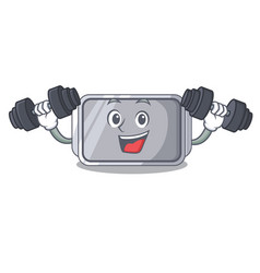 fitness baking pan quality on isolated mascot vector image