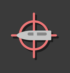Flat icon design collection aim on bullet in vector