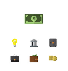 flat icon gain set of greenback portfolio cash vector image