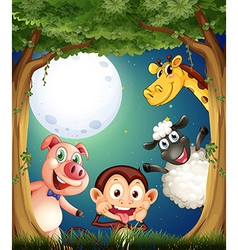 Four animals playing at the forest under the vector image vector image
