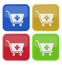 Four square color icons shopping cart plus vector