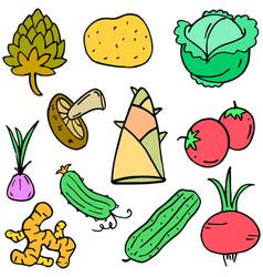 Fresh vegetable doodle set vector