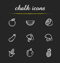 Fruit and vegetables chalk icons set vector