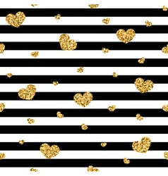 Golden hearts stripes seamless pattern vector image