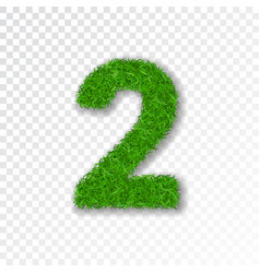 grass number 2 green number two isolated on vector image