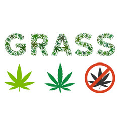 Grass text mosaic of marijuana vector