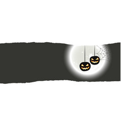 halloween background with two hanging pumpkins vector image