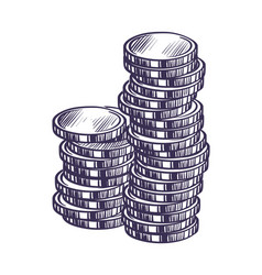 hand drawn coins money and banking sketch vector image