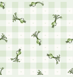 Hand drawn whimsical beetroot gingham seamless vector