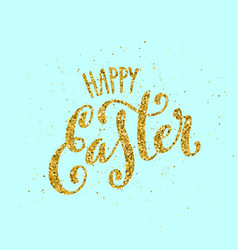 happy easter banner with handdrawn calligraphy vector image