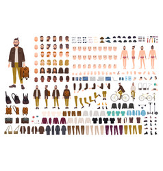 Hipster creation kit set of flat male cartoon vector
