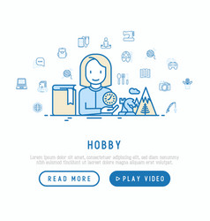 Hobby concept with thin line icons vector