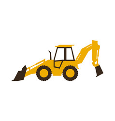 Icon backhoe loader construction machinery vector