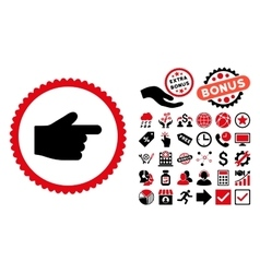 Index Finger Flat Icon with Bonus vector image