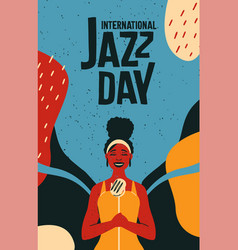 International jazz day retro poster of woman vector