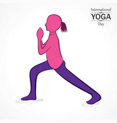 International yoga day greeting vector