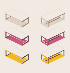 isometric full color outline table in pink vector image