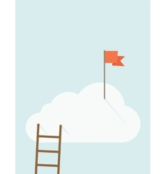 Ladder with red flag on top of the cloud vector