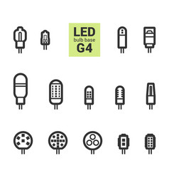 led light g4 bulbs outline icon set vector image