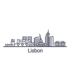 lisbon skyline banner linear style line art vector image