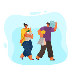 man and woman with grocery bags on blue background vector image