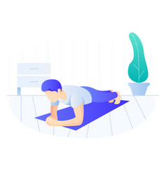 Man doing plank exercise core workout exercising vector