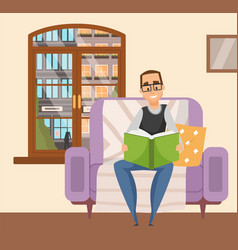 Man in glasses reading a book sitting in armchair vector