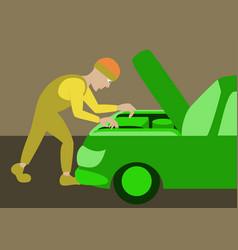 Mechanic repairs car motor vector