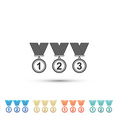 Medal set icon on white background winner simbol vector