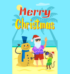 Merry christmas santa claus making photo snowman vector