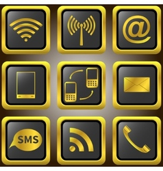 Mobile phone golden icons vector