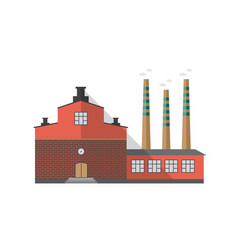 Modern industrial brick building of factory with vector