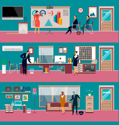 modern office workspace set in flat style vector image