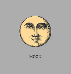 Moon graphic retro drawing in vector