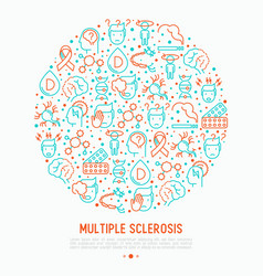 multiple sclerosis concept in circle vector image