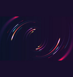 neon lights in motion moving circle shape vector image