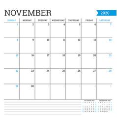 November 2020 square monthly calendar planner vector