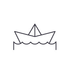 paper boat line icon concept paper boat vector image