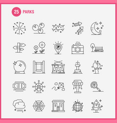Parks line icons set for infographics mobile uxui vector