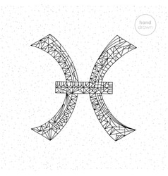 Pisces zodiac sign collection hand drawn vector